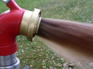 Utspolning av järnsediment med luft- och vattenspolning.
