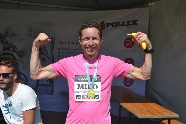 Miro Cepiansky (SWE) efter en målgång på01:17:49. Helt otroligt bra. Det är inte långt efter vinnaren Shadrack Kimining (KEN) som gick i mål på 01:01:31.