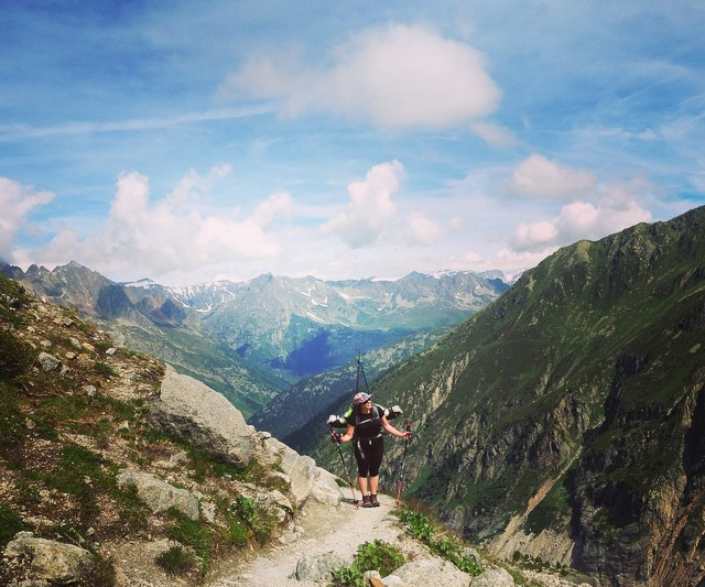 Hiking up Grands Montets at the beginning of June for some early bird turns, Photo- Patric Lundell