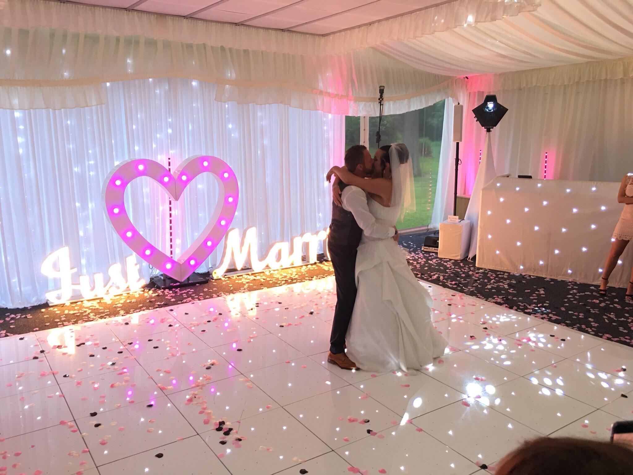White led dance floor Heart and Just Married .JPG