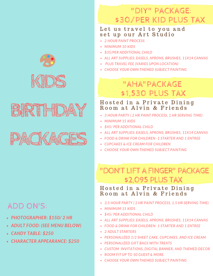 Every Kid is an Artist! - MAKE YOUR CHILD'S BIRTHDAY PARTY A MEMORABLE EXPERIENCE WITH OUR ONE-OF-A-KIND PAINT PARTY. ALL OF OUR PAINT IDEAS ARE CUSTOMIZED TO YOUR THEME AND PERSONALIZED TO YOUR CHILD'S STYLE.