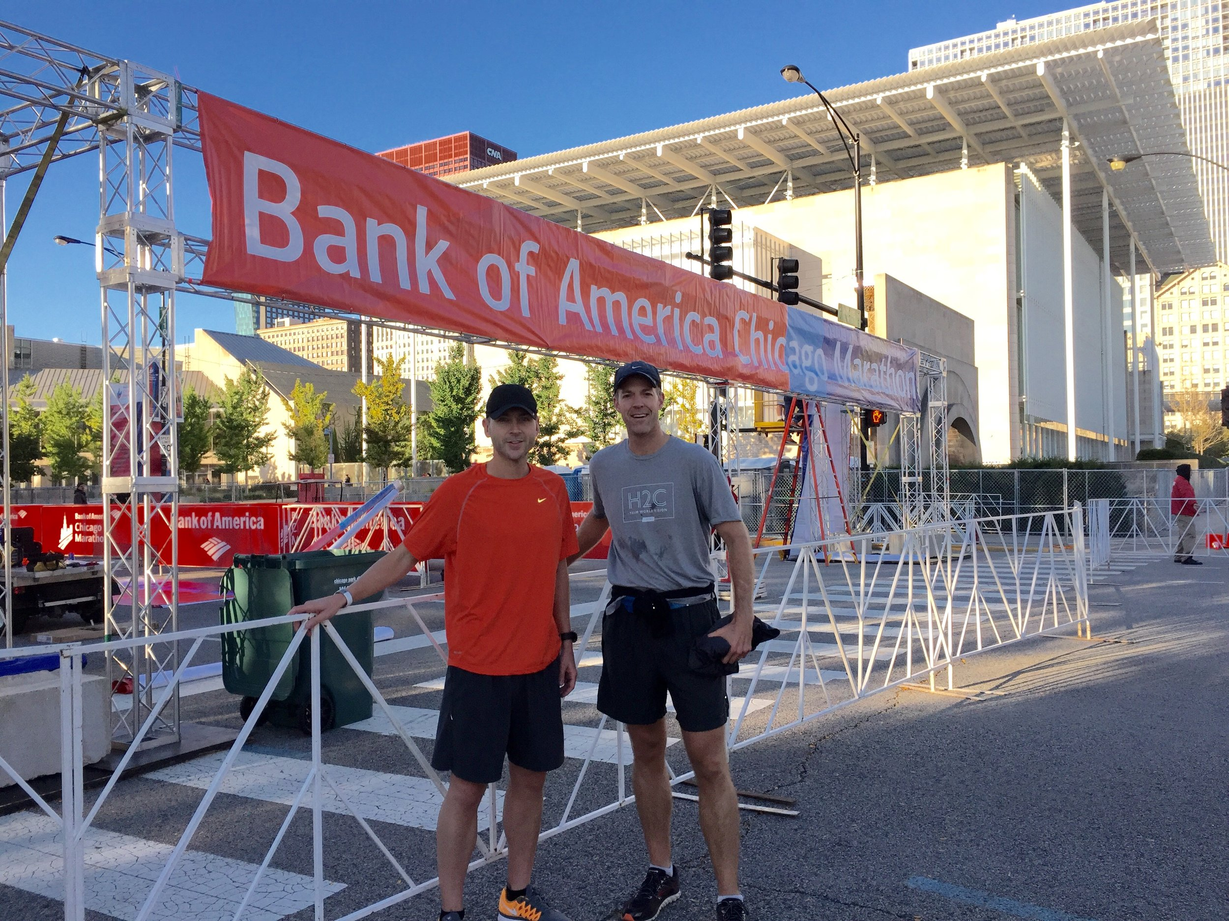 [With Cory during our shakeout run at the starting line for tomorrow's race]