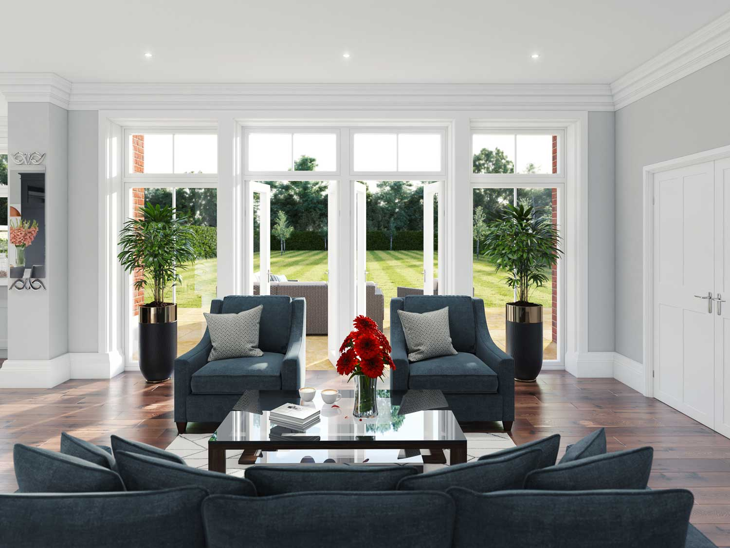 Computer generated image of the family room at Ferndown. Click to enlarge image.