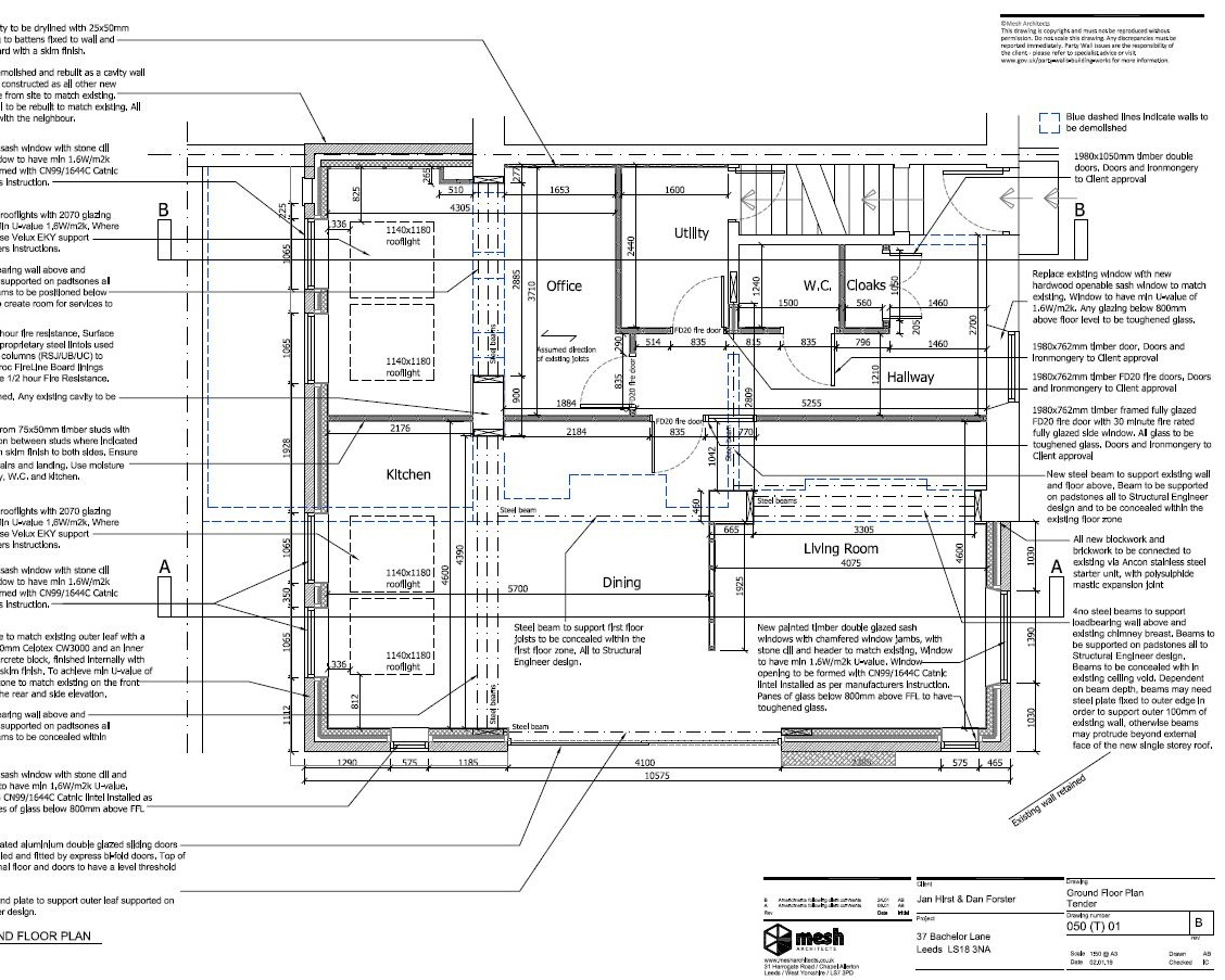 Detailed information - Produce detailed drawings and specifications for Building Regulations submission and construction.