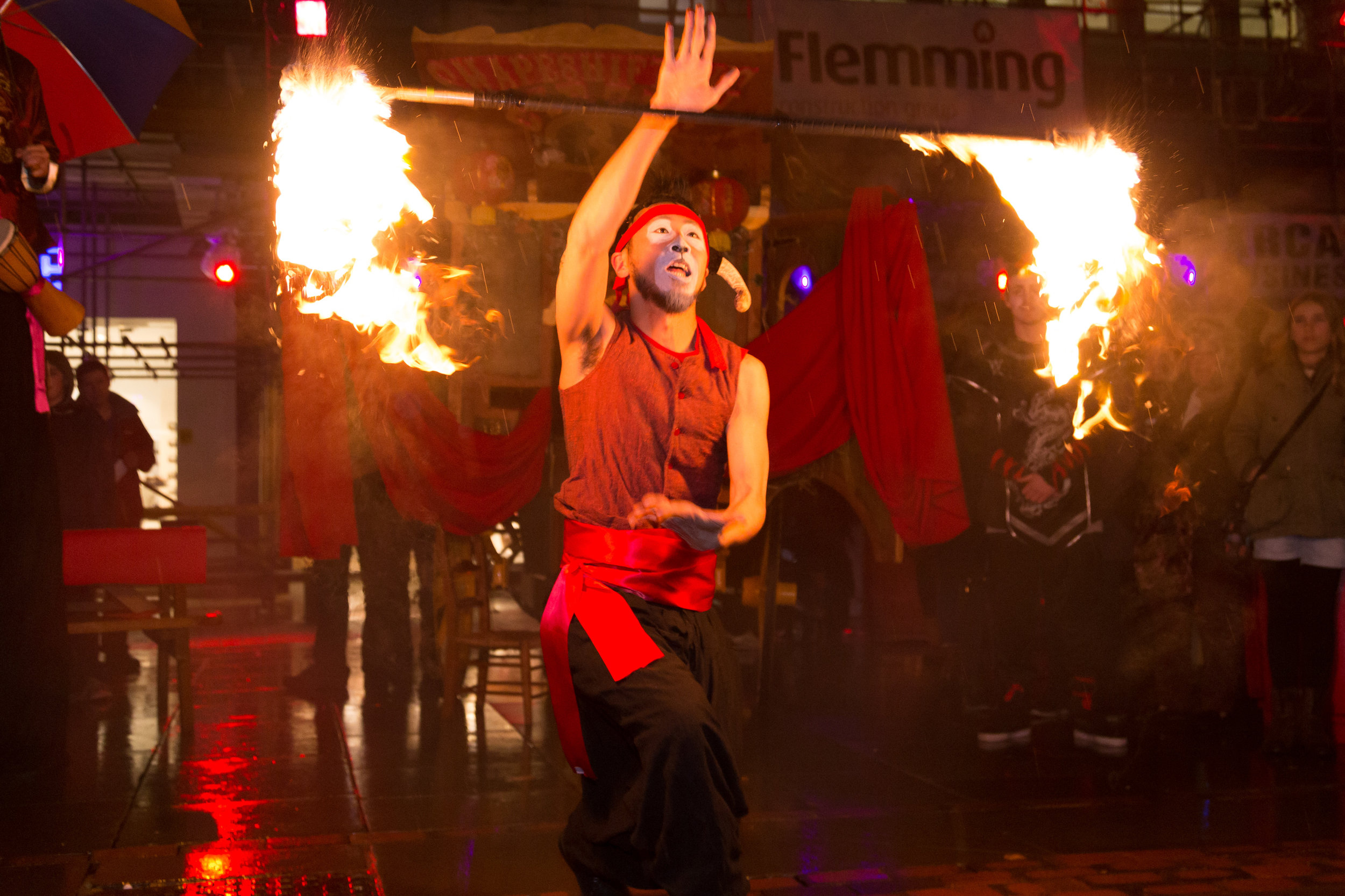 Street Theatre and Walkabout Circus Performers: Fire Staff Throw / Burn Off