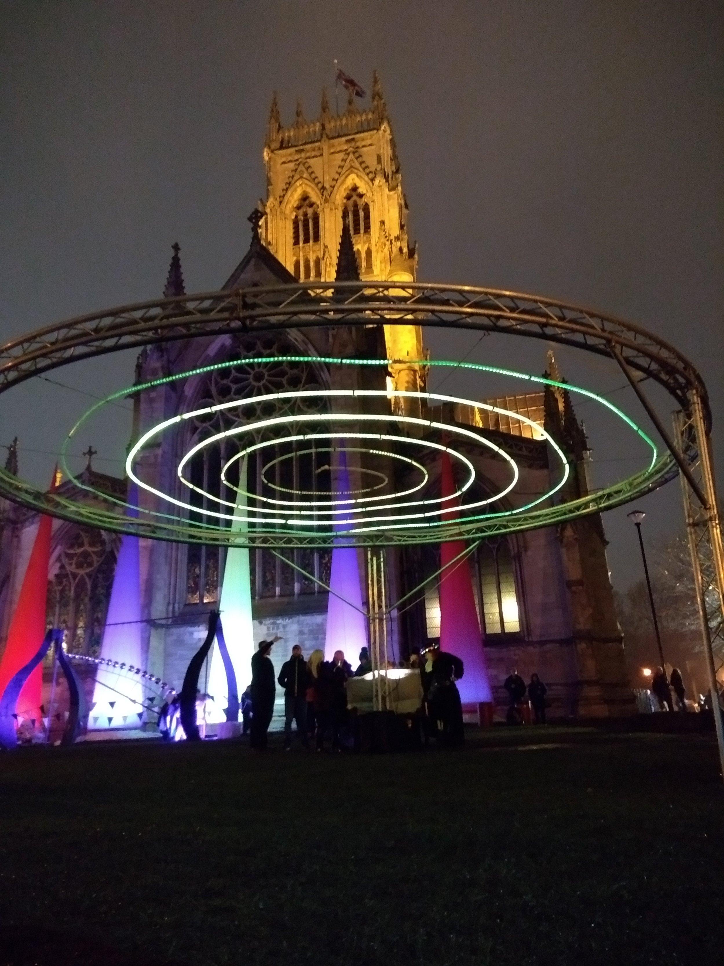 Spiral of Lights outside Doncaster Minster