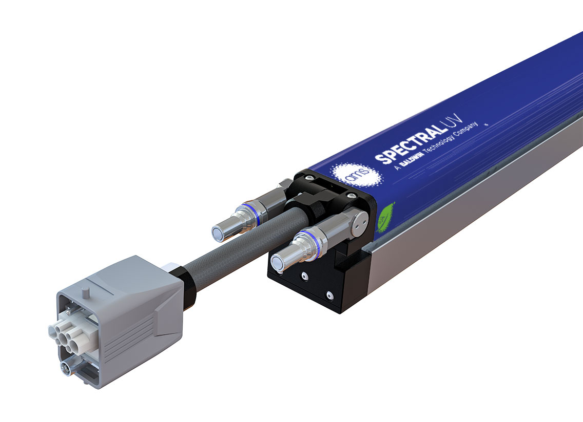 A look at the XPi FLEX™ LED UV curing module, featuring XFLEX™ connectors, from AMS Spectral UV - A Baldwin Technology Company