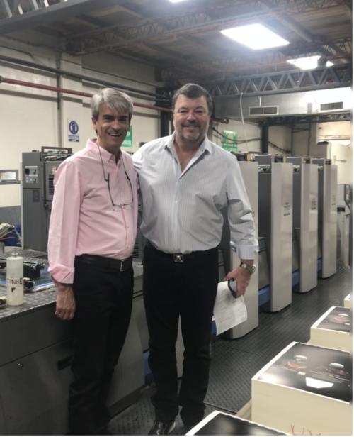 Industrias Omega's Esteban Alvarez meets with AMS Spectral UV's Mike Bates to discuss LED-UV
