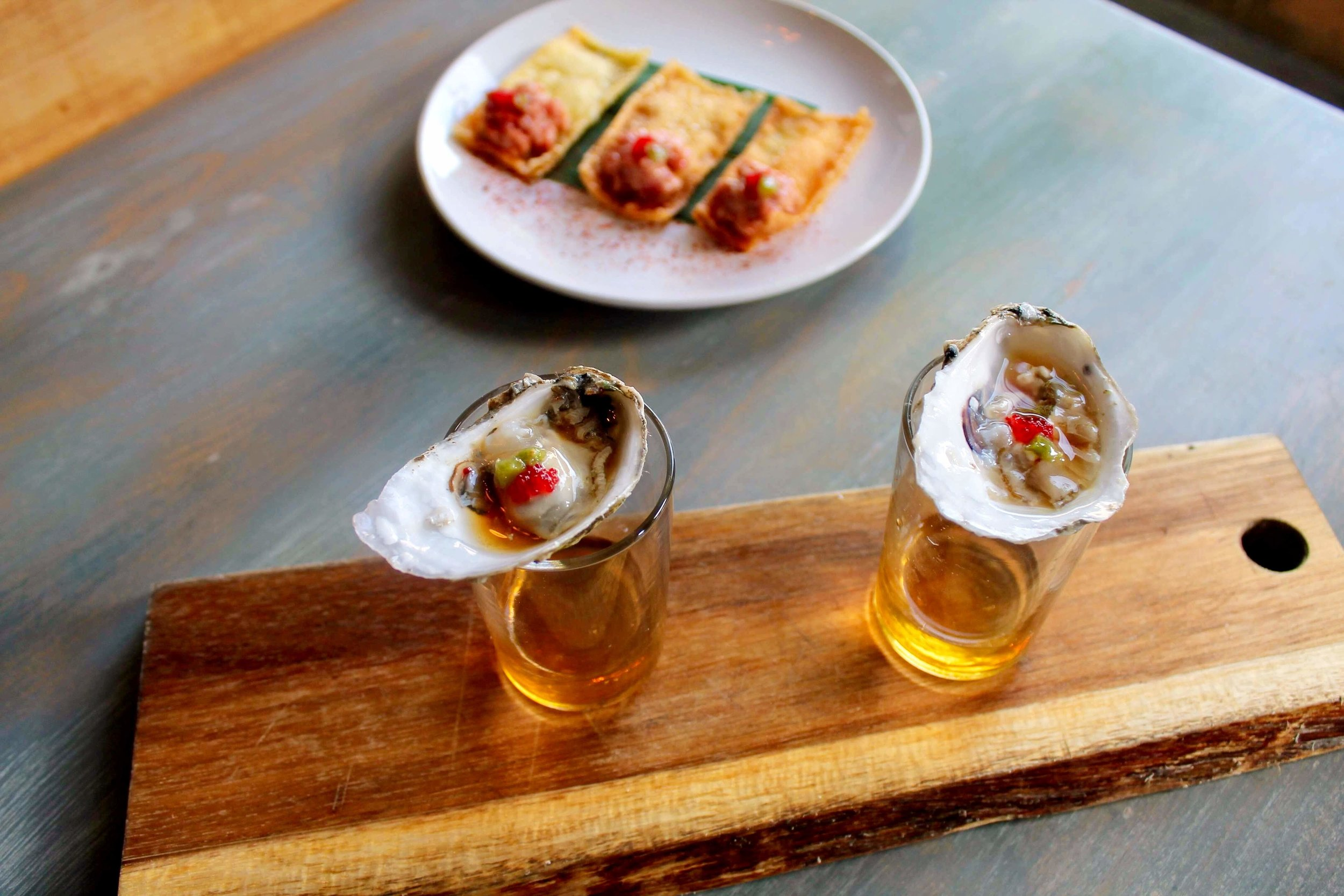 Oyster Shooters and Tuna Tartare