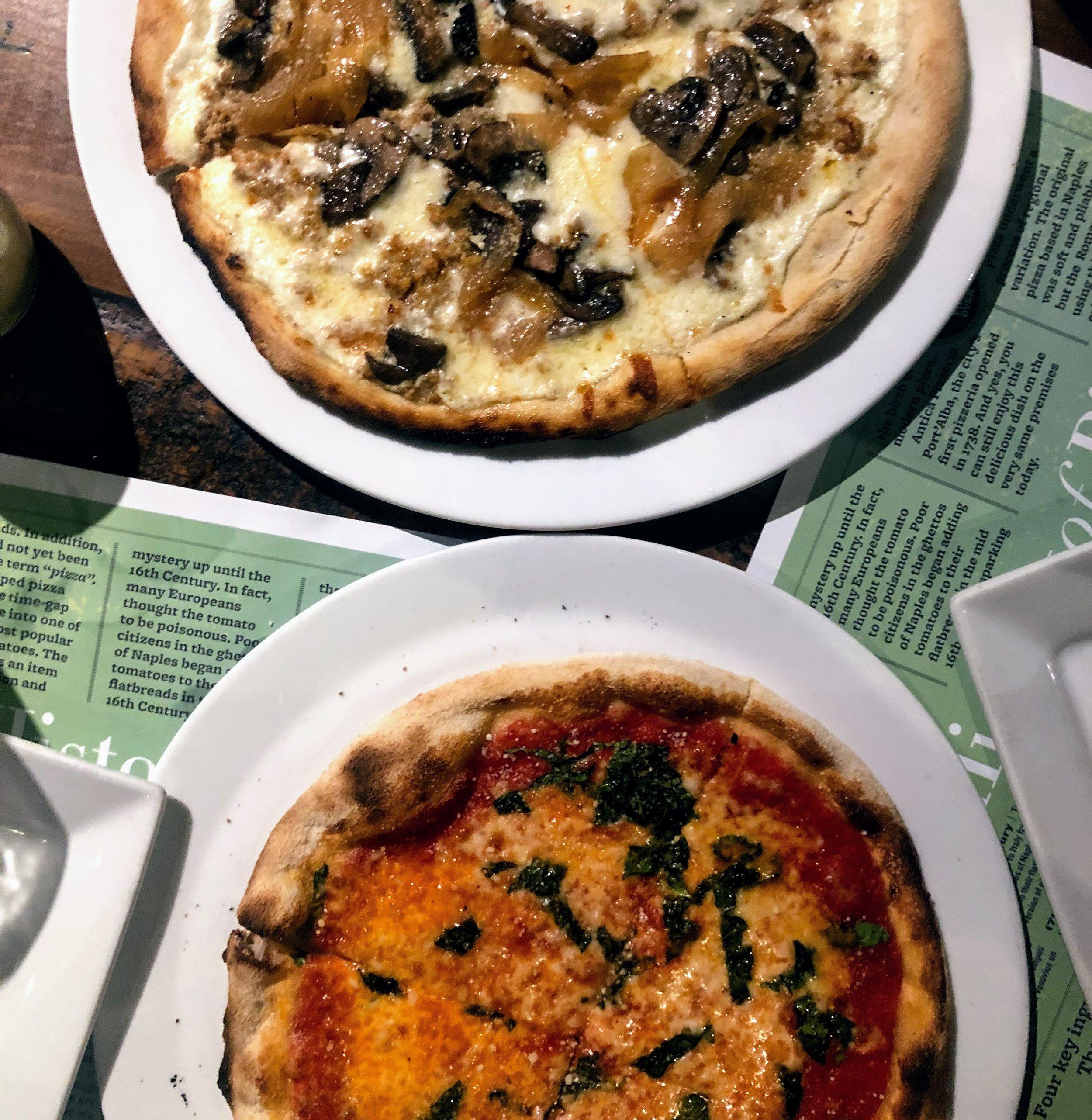 Margherita and Sausage, Onion, Mushroom White Pies