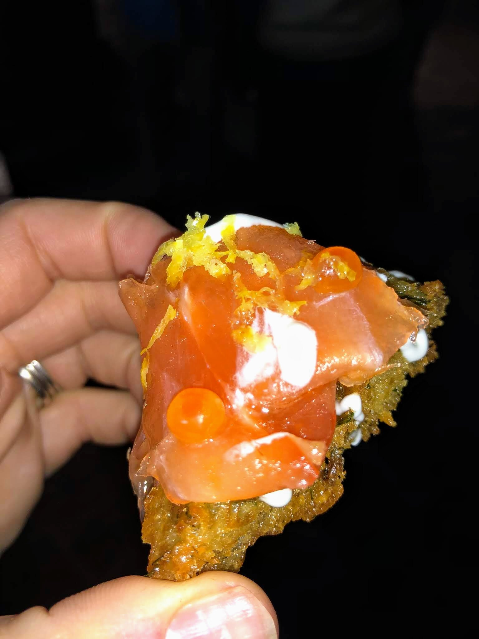 Mini Latke with Creme Fraiche, Smoked Salmon, Caviar and Lemon Zest