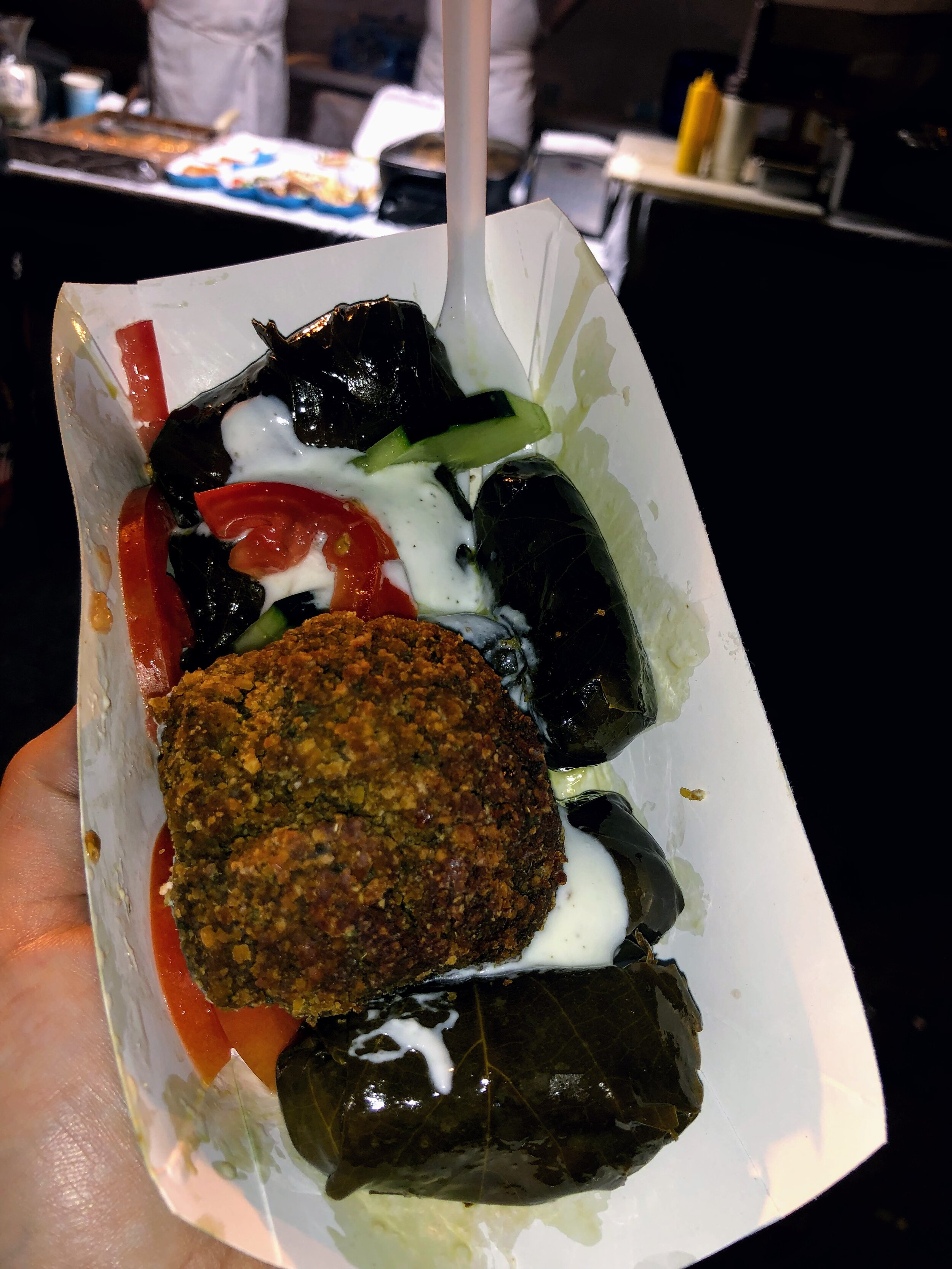 Falafel and Grape Leaves