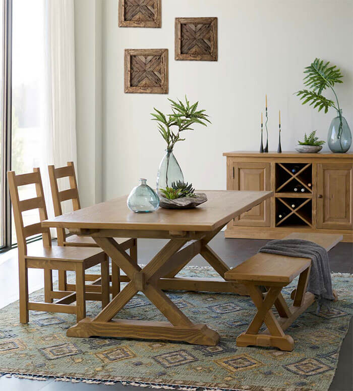 Viva Terra Vintage Fir Collins X Brace Dining Collection