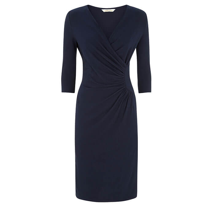 People Tree Stella Fitted Dress in Navy