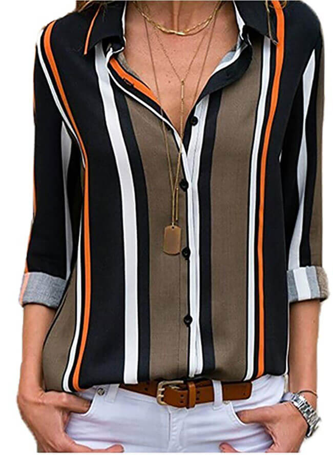 Astylish Women's V Neck Stripes Roll up Sleeve Button Down Blouse Top