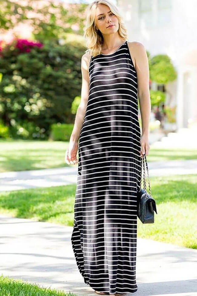 Lucky & Co. The Weekender Striped Pocket Maxi Dress