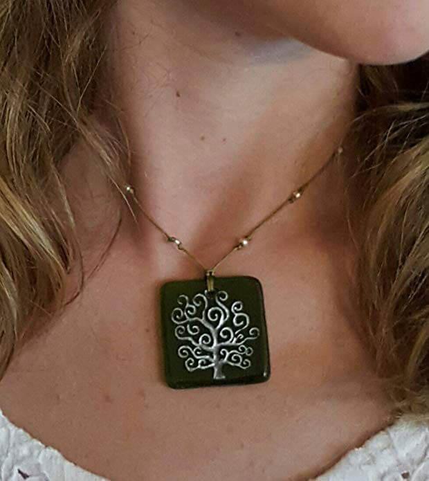 Moneta Jewelry Recycled Glass Tree of Life Pendant Necklace