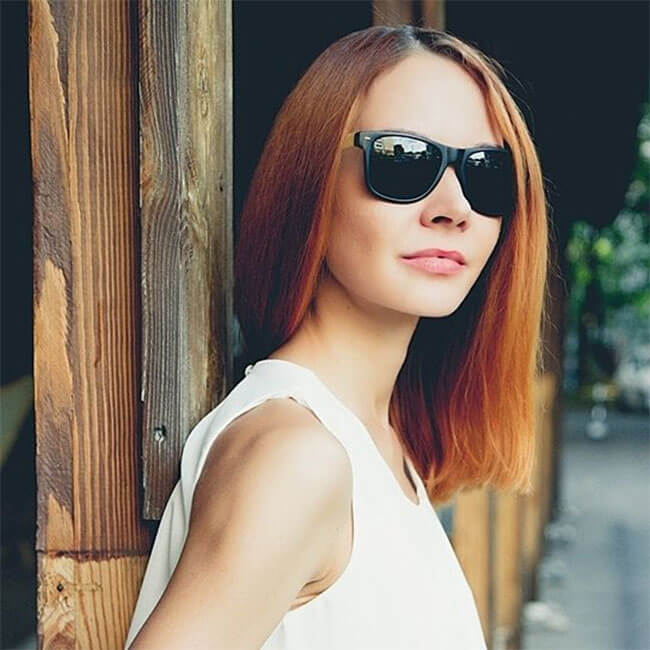 OpenSky Eco-Friendly Genuine Bamboo Temple Horned Rim Sunglasses
