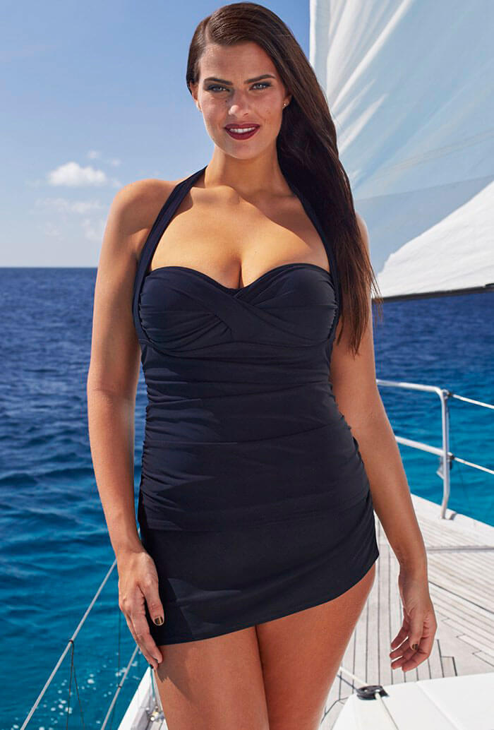 Swimsuits For All Black Convertible Sarong Skirtini