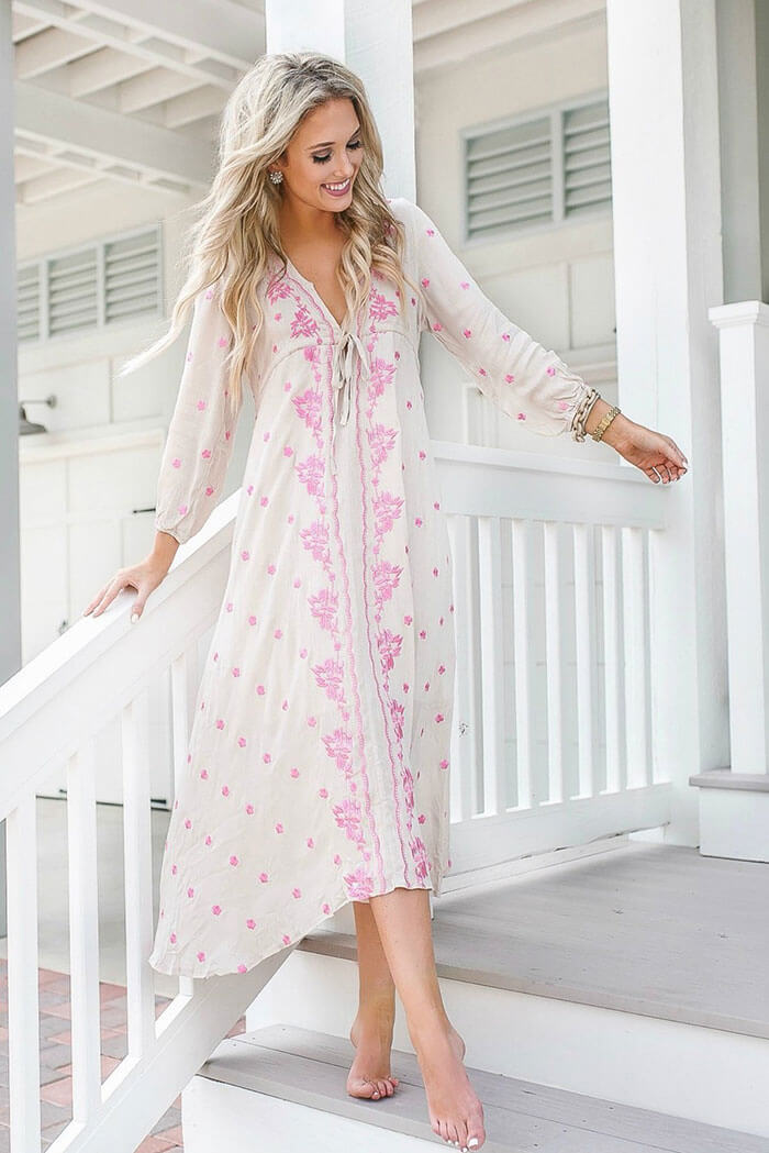 Goodnight Macaroon Abby Boho Plunge Neck Petal Embroidery Empire Dress