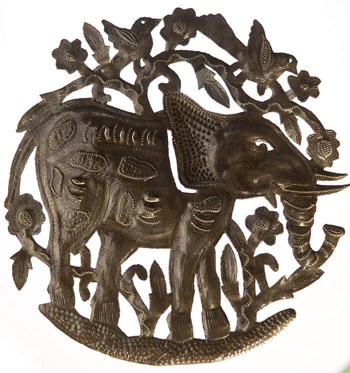 Le Primitif Galleries Haitian Recycled Steel Elephant Garden Art