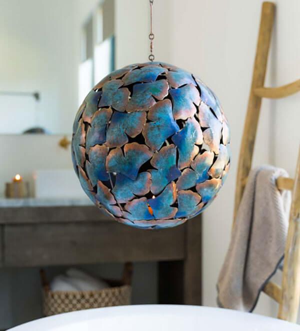 Viva Terra Recycled Metal Gingko Leaf Hanging Globe Latern
