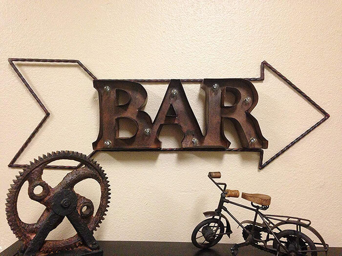 Rustic Farm Home Lighted Marquee Rustic Metal Bar Sign Wall Decor