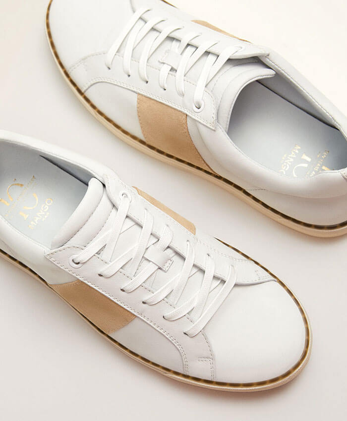 Mango Suede Panel Leather Sneakers