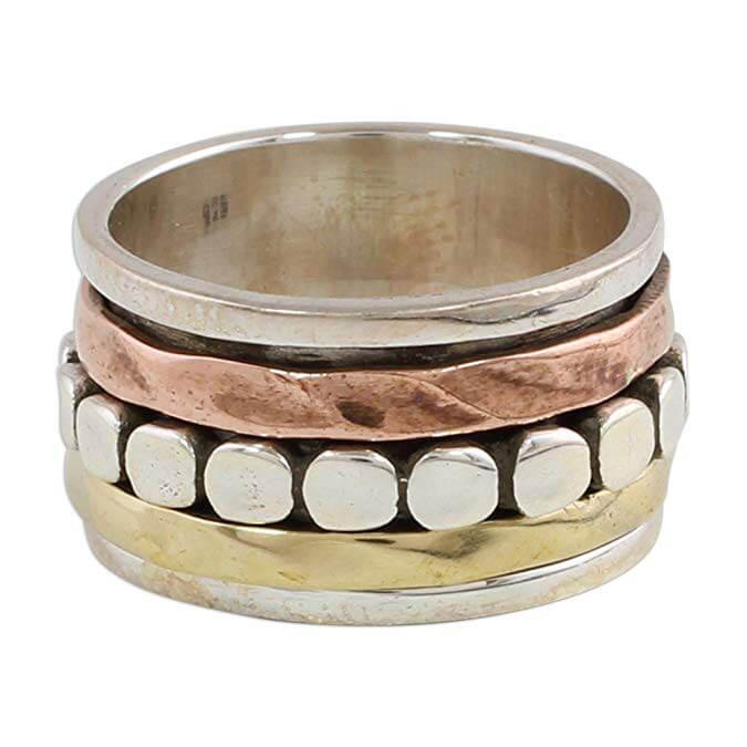 NOVICA Sterling Silver Dot Motif Brass Copper Meditation Ring