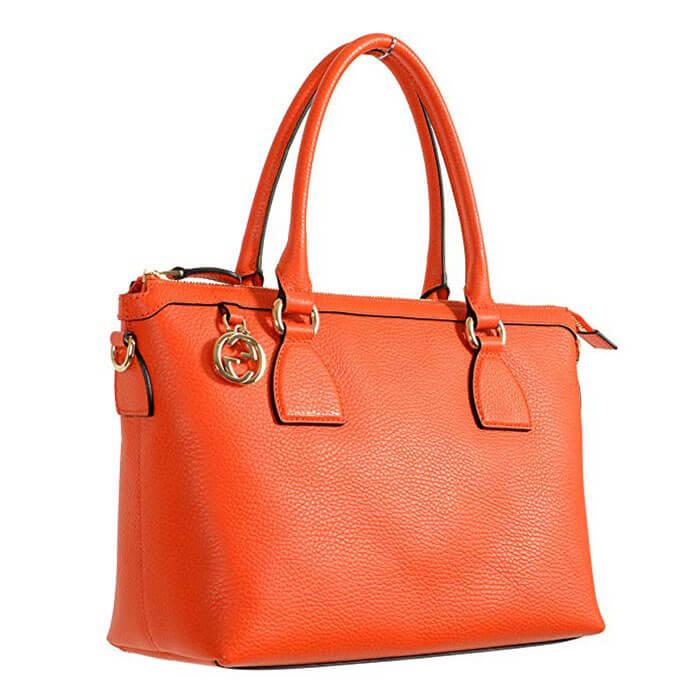Gucci Pebbled Leather Orange Satchel Handbag