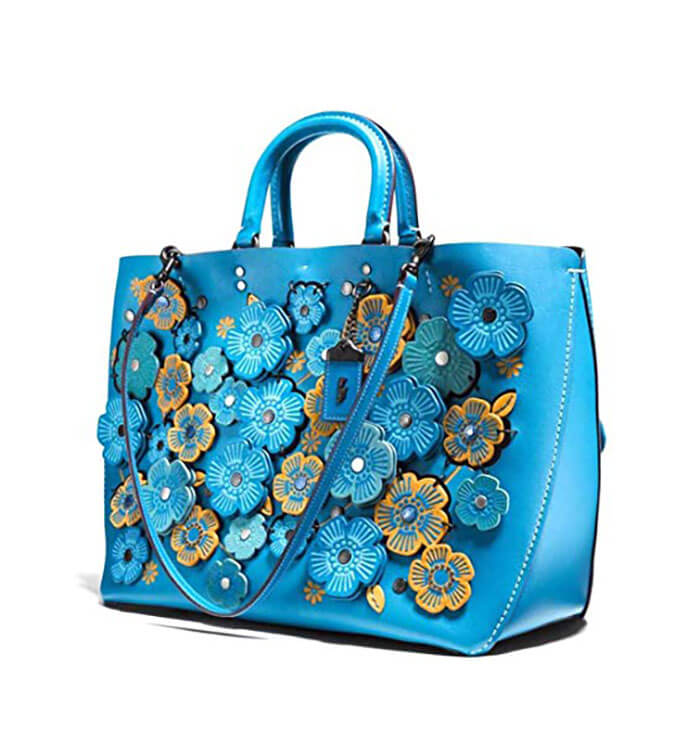 Coach Blue Rogue Tote with Linked Tea Rose in Glove Calf