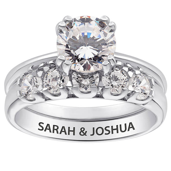 Limoges Jewelry 10K White Gold 2 Piece CZ Wedding Ring Set