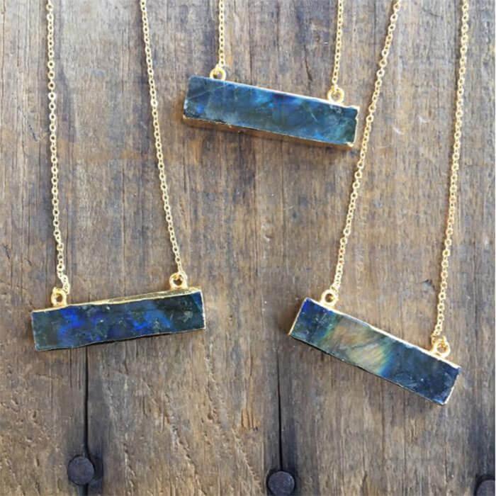 Woodzee Billy Sky Jewelry Labradorite Bar Necklace