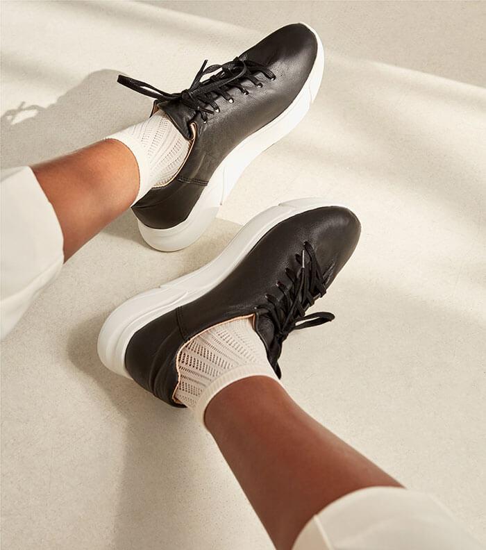 Alice + Whittles Minimalist Black + White Luxa Sneaker