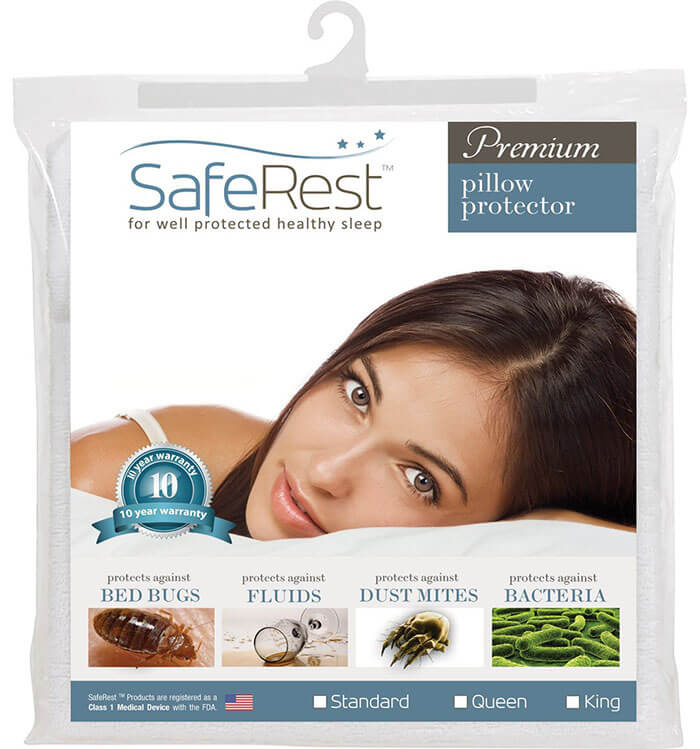 SafeRest Premium Hypoallergenic Waterproof Pillow Protector
