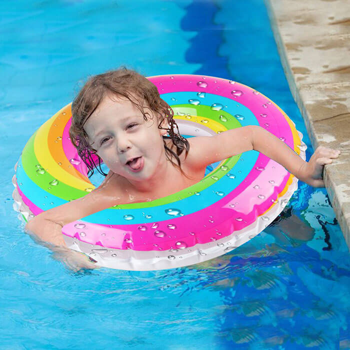 Coogam Rainbow Wim Ring Whirl Tube Color Pool Float