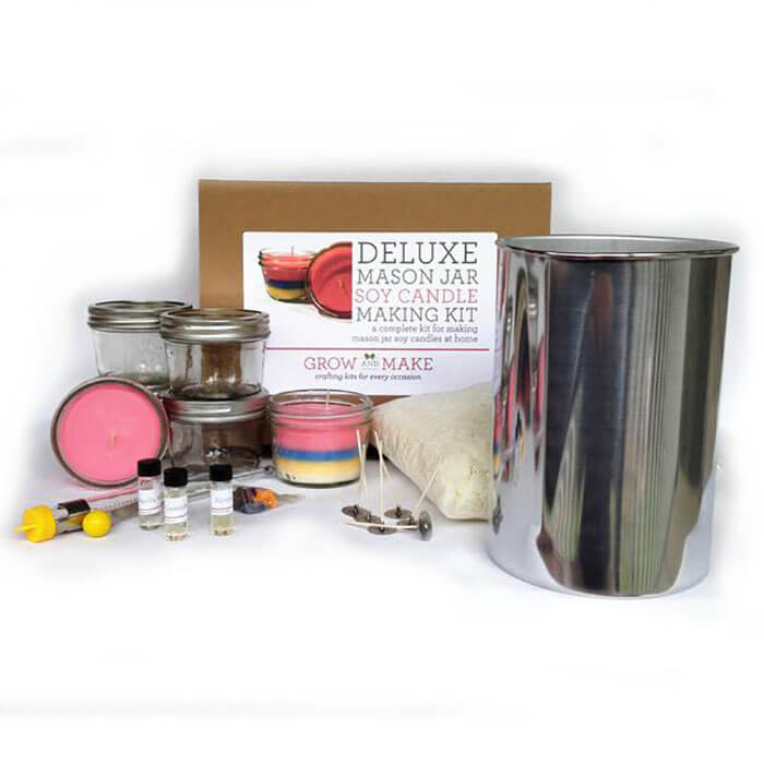 Grow and Make Deluxe DIY Large Mason Jar Soy Candle Making Kit