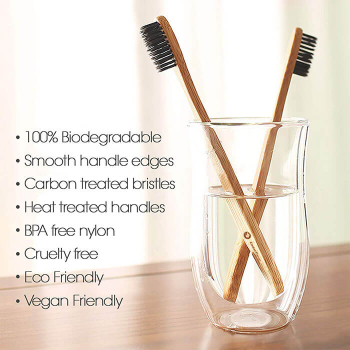 KOOLERTHINGS Natural Charcoal Bamboo Toothbrushes