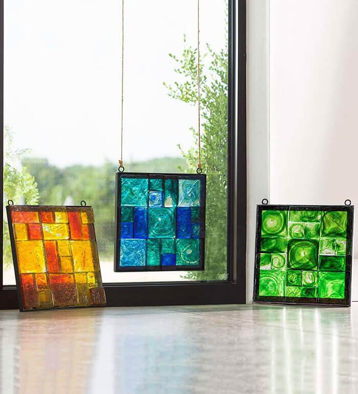 Viva Terra Framed Recycled Glass Block Art