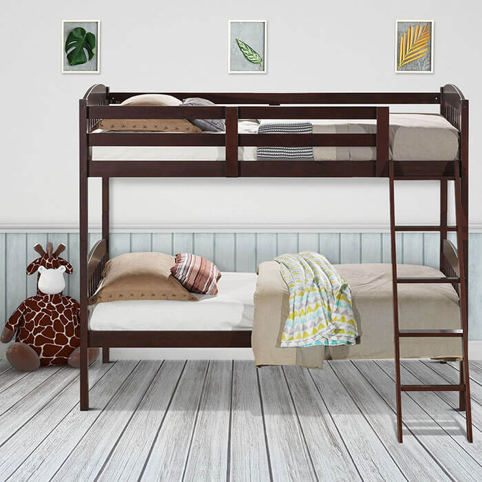 Costway Solid Wood Twin Bunk Bed with Detachable Kids Ladder