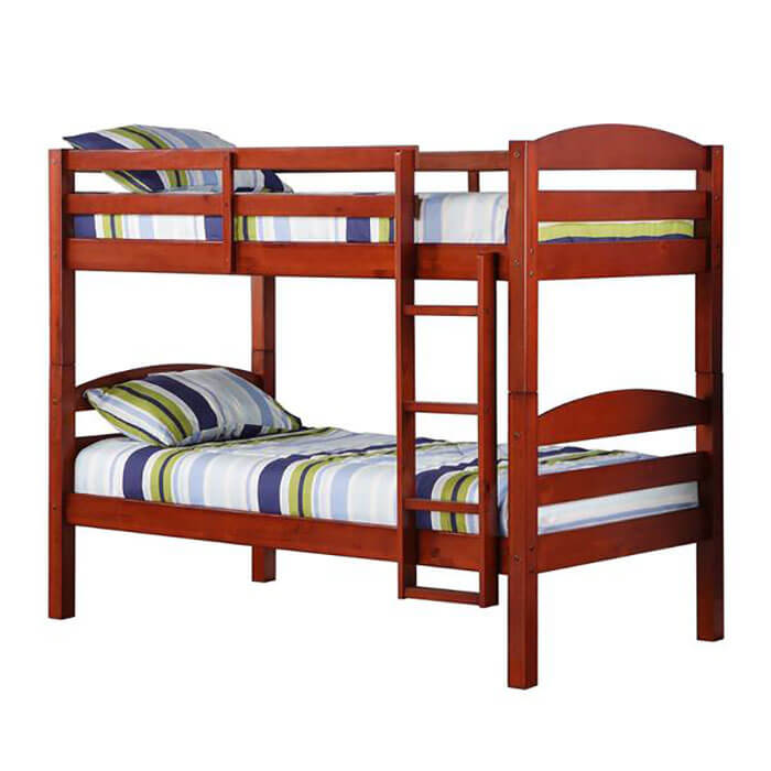 Contemporary Furniture Warehouse Twin Solid Wood Cherry Bunk Bed