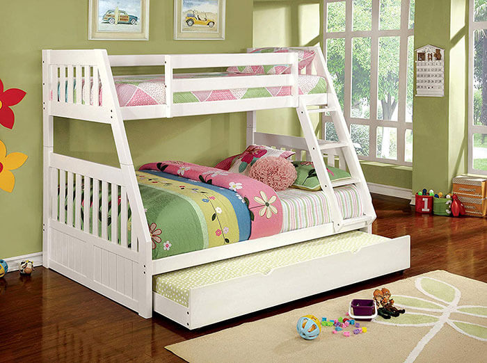 Furniture of America Garvey Twin over Full White Bunk Bed