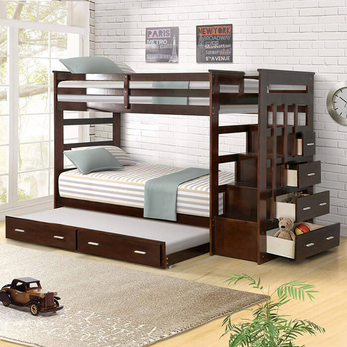 Harper & Bright Designs Solid Wood Trundle Bunk Bed with Staircase