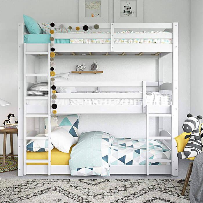 Dorel Living Phoenix Triple Floor White Bunk Bed