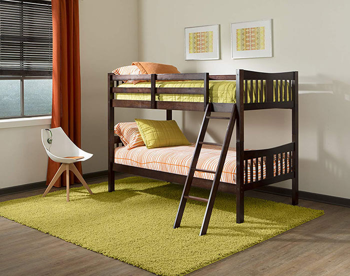 Storkcraft Caribou Solid Hardwood Twin Bunk Bed with Ladder and Safety Rail