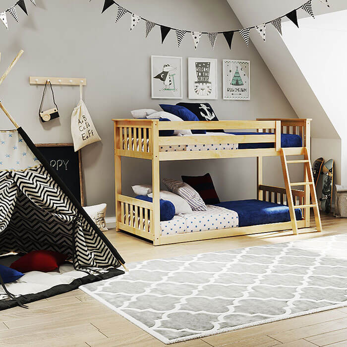 Max & Lily Twin over Twin Low Natural Bunk Bed