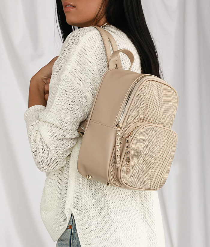 Lulus Weldon Beige Lizard Mini Backpack