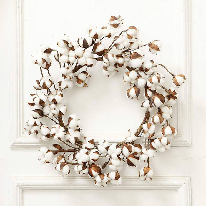 VGIA 24 Inch Real Cotton Vintage Wreath