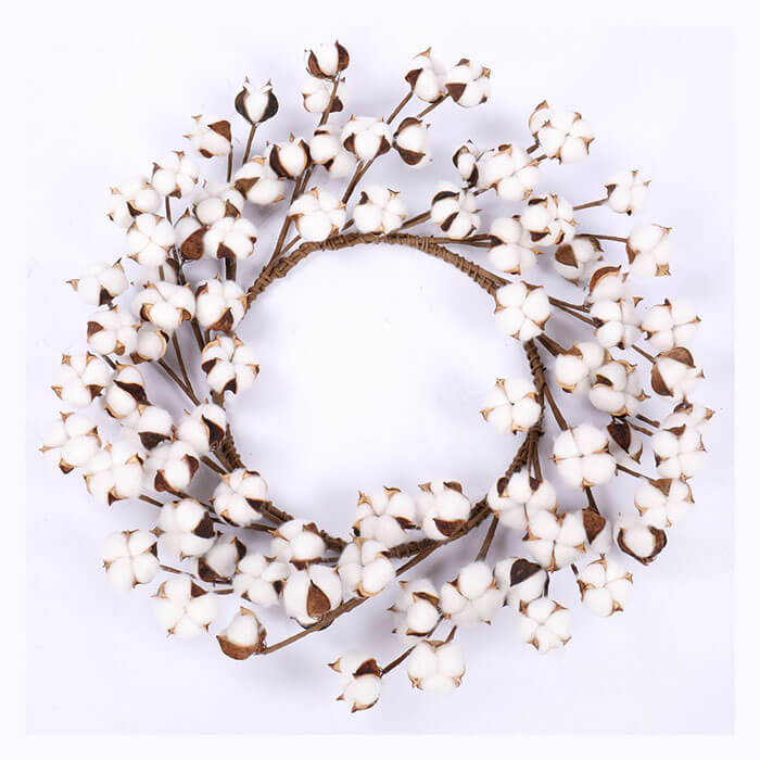 Darget Natural White Cotton Boll Wreath