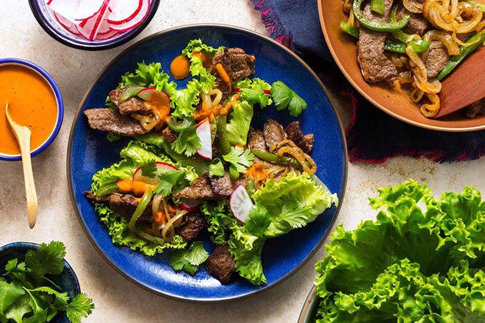 Sun Basket Steak Fajita Lettuce Wraps